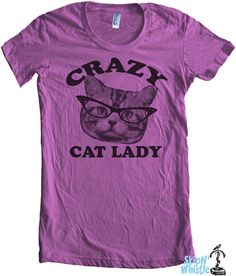CRAZY CAT lady t shirt  american apparel  S M L XL by skipnwhistle, $24.00