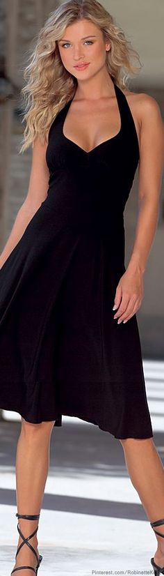 Venus | Black Halter Dress