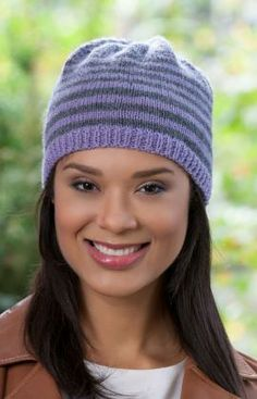 Woman's Striped Knit Hat Free Pattern from Red Heart Yarns