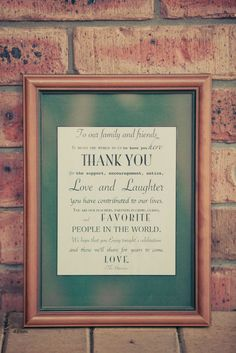 A thank you sign for wedding reception