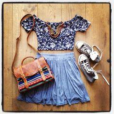 brandy melville outfit-dark floral crop top,violet velvet high waisted skirt,brown converse,aztec brown bag