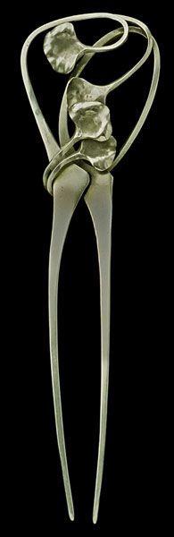 Edgar Brandt (1880-1960), Art Nouveau Ginkgo Comb, Silver, ca. 1904