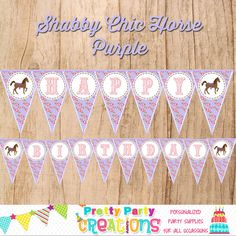 SHABBY CHIC HORSE pennant banner Purple by PrettyPartyCreations