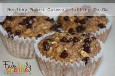 These muffins are great for a healthy on the go breakfast you can bake ahead!      http://fabulesslyfrugal.com/2013/02/healthy-baked-oatmeal-muffins-to-go.html