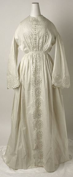 Dressing Gown: ca. 1860, American, cotton.