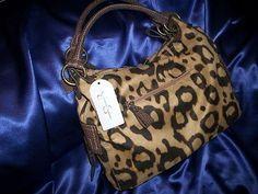 Jessica Simpson Greenwich Camel Brown Animal Print Leather Handle Handbag $59.99