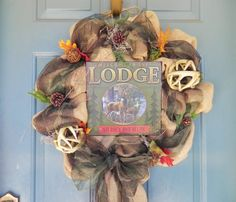 Burlap and Camo Hunting Wreath - Antlers - Deer Hunting - Burlap Wreath - Fall Hunting Wreath - Gone Huntin' on Etsy, $115.95