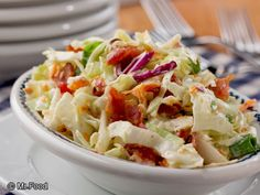 Bacon Ranch Coleslaw - Looking for ideas for your summer potluck? Homemade deli salads, like this popular coleslaw recipe, are always in high demand for the 4th of July!