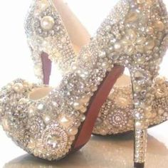 DIY BEST JEWELED shoes EVER!!! ONLY $$28.00 :  wedding black blue bouquet bridal bridesmaids brown ceremony cheap diy dress flowers gold green heels hotfix inspiration ivory jewelry jewels makeup navy on a budget orange pictures pink purple reception red rhinestones sexy shoes silver strass strassing teal white Red bridesmaids, idea, rhineston, wedding shoes, green, heel, flowers, blue bouquets, blues