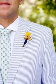 Men's wedding attire - Blue and white seersucker suit