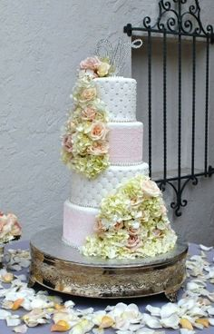 Lace and Flowers-Wedding Cake - The Cake Zone-www.thecakezone.com
