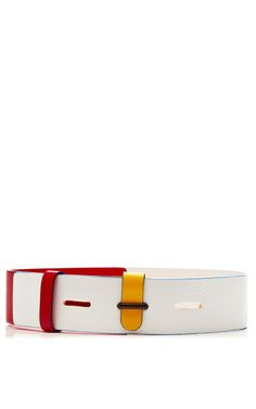 Tricolor Leather Belt by Prabal Gurung