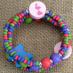 Kids Wooden Wrap Bracelet - Flamingo at theBIGzoo.com, a family-owned toy store.
