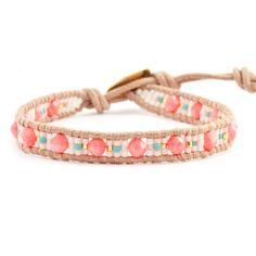 Salmon Coral Beaded Mix Single Wrap Bracelet on Beige Leather