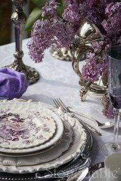 lilac, silver & white