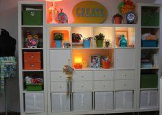 Sewing Studio Using Ikea Expedit Shelving Units
