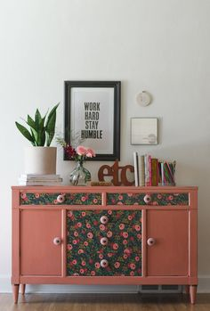 """Salmon painted Sideboard with floral papered drawer fronts and pink knobs named """"Frankie"""" on Etsy, $675.00"""