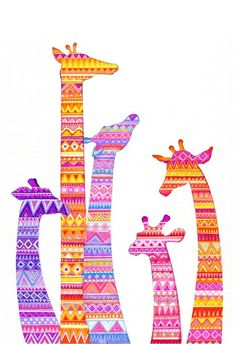 Giraffe Silhouettes in Colorful Tribal Print Stretched Canvas