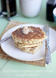 Oatmeal Cookie Pancakes with Cinnamon Butter from @Cassie Laemmli | @BakeYourDay