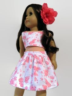 American Girl Doll Clothes Pink Gray and White by 18Boutique