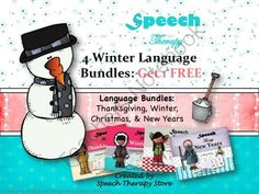 Speech Therapy 4 Winter Language Holiday Bundles Get 1 FREE from Speech Therapy on TeachersNotebook.com -  (185 pages)  - Speech Therapy Winter Language