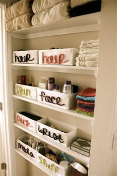 a great way to use baskets.  i would of course use homemade baskets instead of plain store bought canvas! Storage Solutions, Small Bathroom Storage, Bathroom Closet, Bathroom Organization, Linen Closets, Small Spaces, Storage Ideas, Organization Ideas, Small Space Storage
