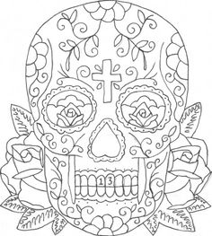 printable Coloring Pages of Skulls and Roses | candy skull tattoo mexican sugar skull tattoos