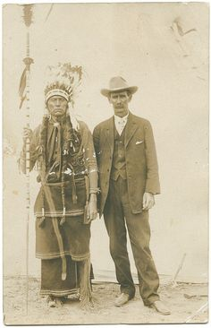 Quanah Parker, Comanche Indian Chief, and W. C. Riggs, at the Fat Stock Show, Fort Worth, Texas in 1909.  (By SMU Central University Libraries, via Flickr)