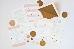 Mint Peach Letterpress Invitation, Stripe, Gold Edge by Dodeline