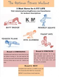 Endurance, Strength, Rest- full body workout at home- can do in front of TV!