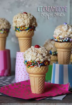 Ice Cream Cone Krispie Treats