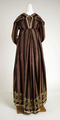 Such a lovely back drape, stripped fabric and the back bodice detail. Object Name  Dress  Date  ca. 1802