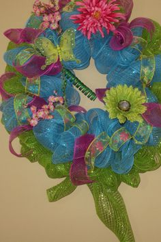 summer wreaths | Summer Mesh Wreath, Poly Mesh Wreath, with Mesh Ribbon, Turquoise and ...