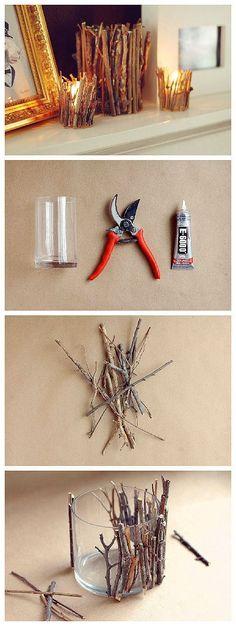 DIY: decorative tree branch candle holder