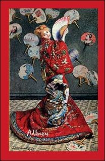 """Small address book with Claude Monet's """"La Japonaise""""—Camille Monet in Japanese costume—on the front cover."""