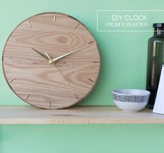 Make a clock from a wooden platter with Craft Hunter blog