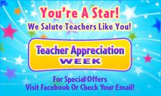 Teacher Appreciation Week 2014.  You're a Star!  Thank you for all that you do!