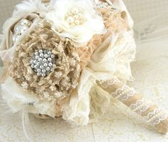 Brooch Bouquet  Shabby Chic Rustic in Ivory Champagne by SolBijou, $300.00