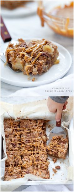 Caramel Apple Brownies are ooey gooey and a favorite #recipe on foodiecrush.com