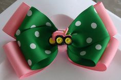 Pink and Green Tractor Hair Bow by bowsforme on Etsy, $7.49