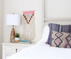 Bohemian Bedroom with modern macrame wall hanging. Owens and Davis