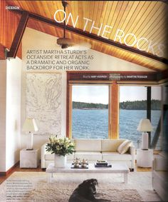 Bright White Living Room with vaulted wood ceiling and a great view - by Martha Sturdy in House and Home via the MASH