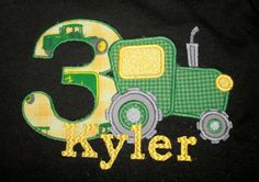 John Deere Tractor Themed Embroidered T-Shirt. $20.00, via Etsy.
