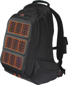 Solar charging backpack that can charge your laptop. From Voltaic. This can be your bug out bag. Charge your phone and flashlights and laptop.   Just fill it up with supplies. Grab and run in any emergency.