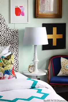 Spotted Headboard | Gallery Wall | Floor Lamp Side Table