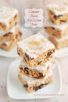The Sweet Chick: Cinnamon Raisin Rice Krispie Treats #food #recipes