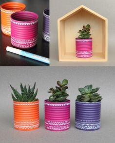DIY flowerpots from cans