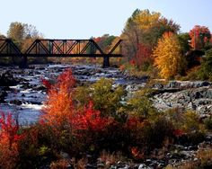 Autumn colors along the bank in North Anson, Maine.