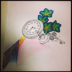 Pocket watch drawing foregetmenots
