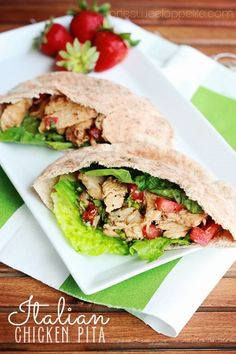 Italian chicken pitas. Great for picnics at the park or beach.